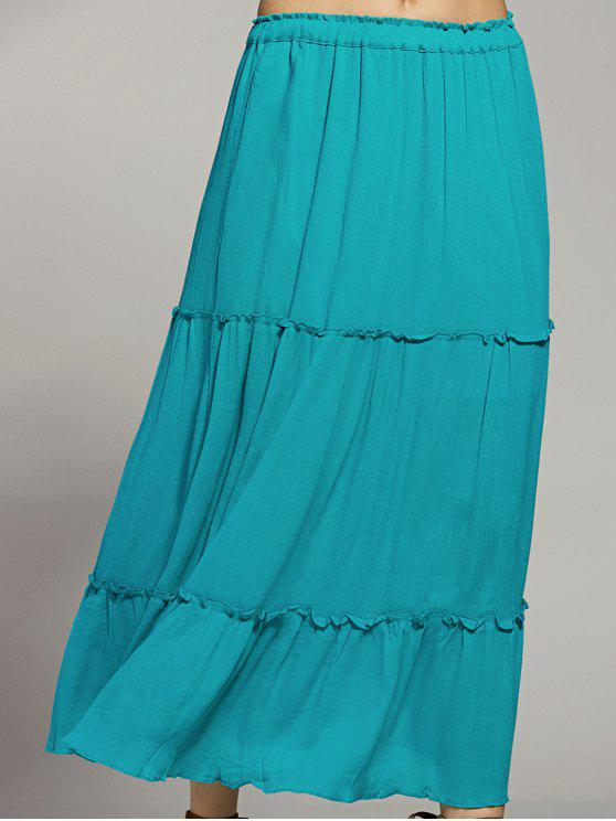 fashion Solid Color Elastic Waist High Waist A-Line Skirt - LAKE BLUE M