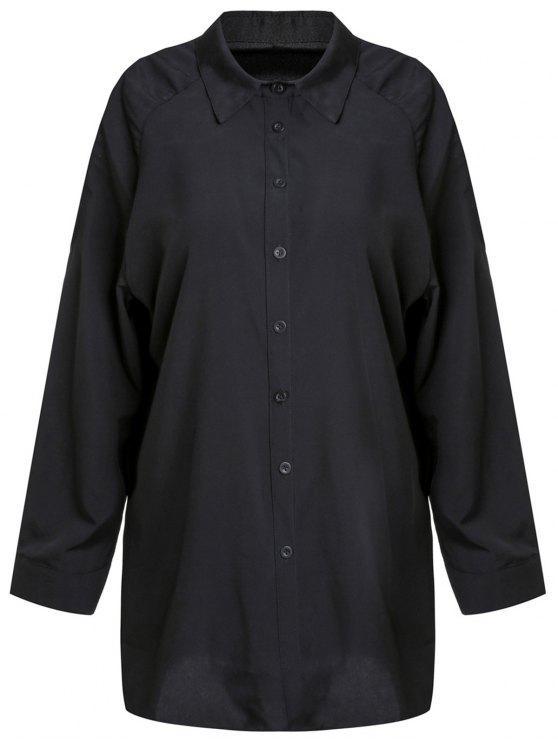 Camicia a tracolla fredda della camicia di colore solido - Nero M
