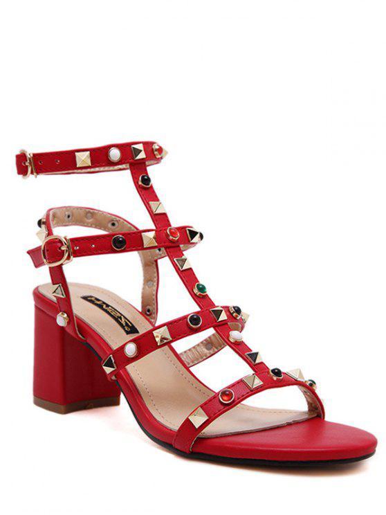 Tacón grueso remache sandalias de color sólido - Rojo 39
