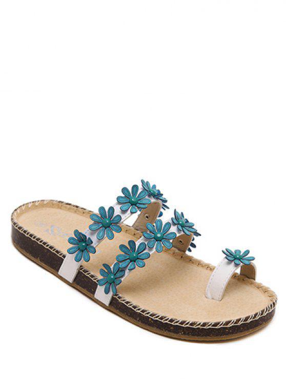 trendy Flat Heel Flower Toe Ring Slippers - BLUE 39