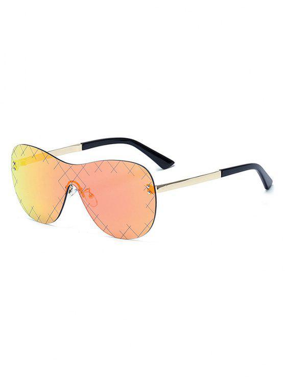 shop Plaid Mesh Mirrored Shield Sunglasses - RED
