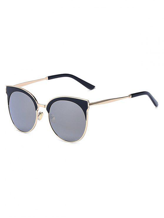 chic Mirrored Cat Eye Sunglasses - SILVER GRAY