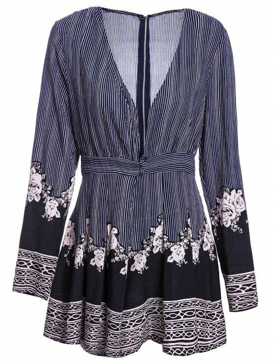 fancy Stripe Printed Plunging Neck Long Sleeve Romper - COLORMIX M