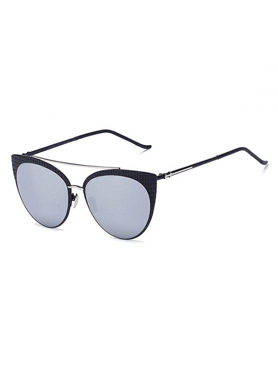 affordable Plaid Black Mirrored Cat Eye Sunglasses - SILVER