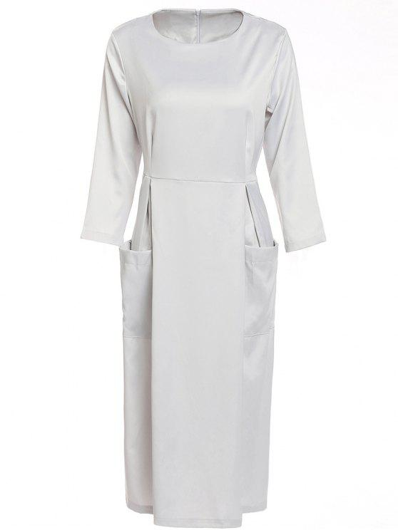 trendy Bateau Collar 3/4 Sleeve Big Pocket Dress - SILVER M