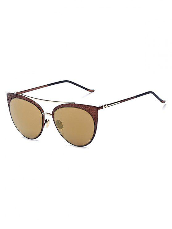 women Plaid Mirrored Cat Eye Sunglasses - TYRANT GOLD