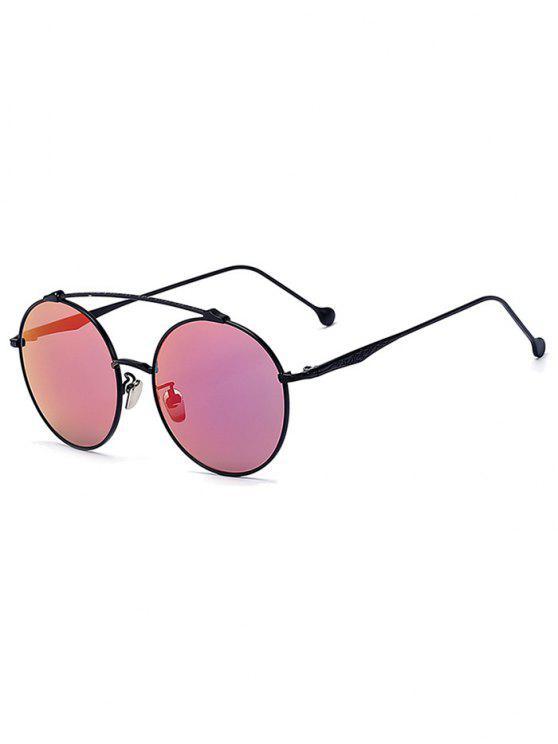 ladies Brow-Bar Black Round Sunglasses - BLACK