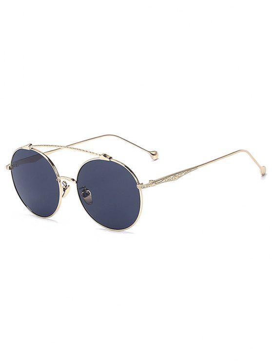 Frente-Barra de oro gafas de sol redondas - Negro