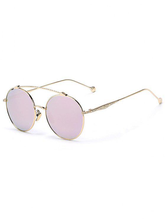 Frente-Barra de oro gafas de sol redondas - Rosa