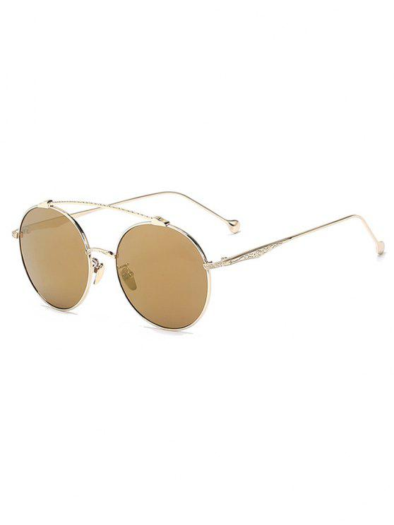 hot Brow-Bar Golden Round Sunglasses - TYRANT GOLD
