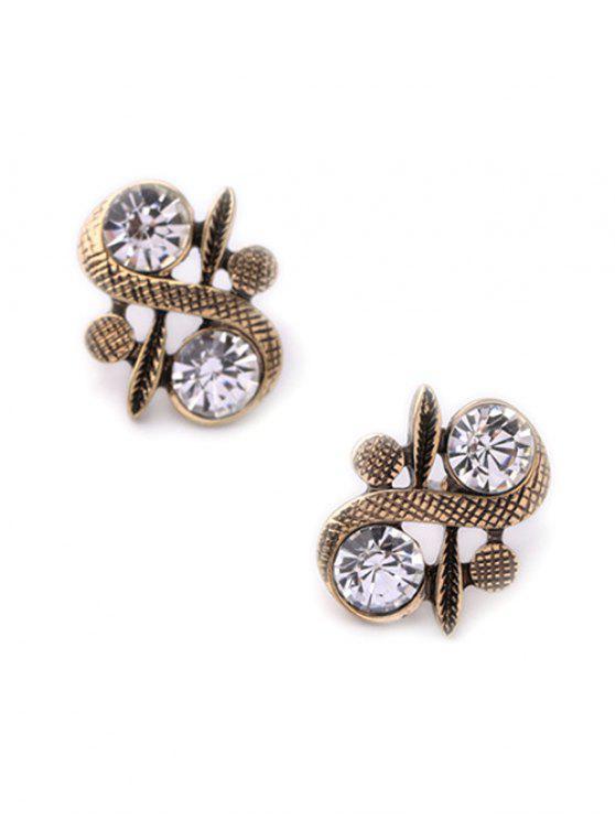 women's Rhinestone S Shape Stud Earrings - GOLDEN