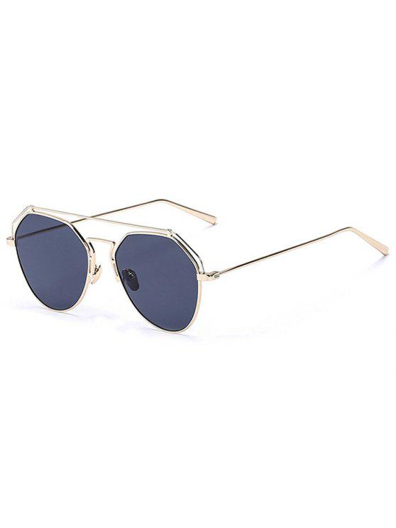 outfits Golden Brow-Bar Mirrored Pilot Sunglasses - BLACK