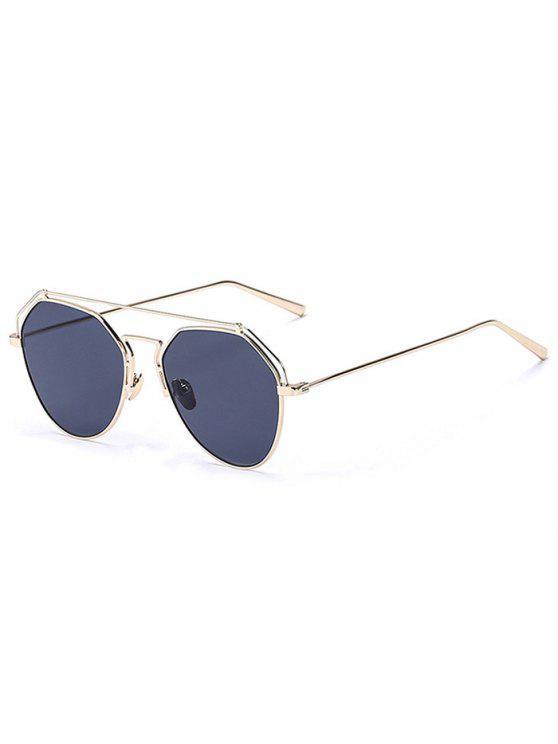 outfits Golden Brow-Bar Mirrored Pilot Sunglasses - BLACK
