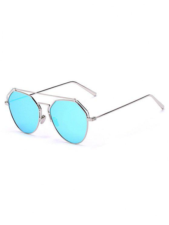 trendy Silver Brow-Bar Mirrored Pilot Sunglasses - SILVER