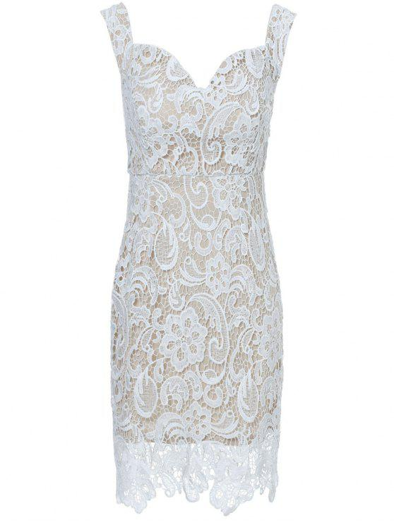 Off The Shoulder Lace Bodycon Dress - Blanco XL