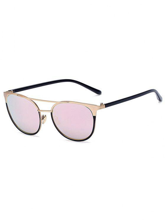 fd7262b4e1c fashion Golden Crossbar Mirrored Cat Eye Sunglasses - PINK