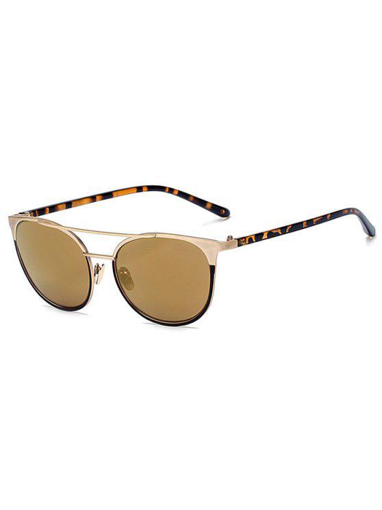 Leopardo de la pierna barra transversal gafas de sol del ojo de gato - Dorado