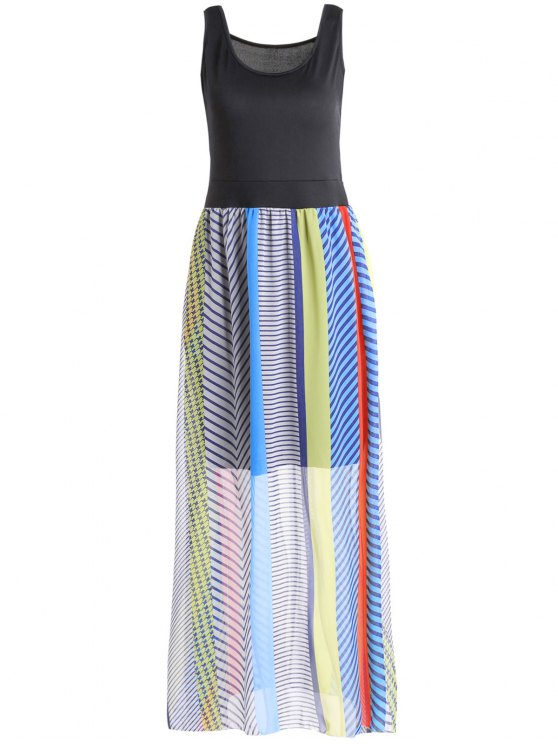 outfits Sleeveless Striped Bohemian Dress - COLORMIX L