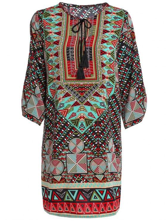 ladies Ethnic Print Jewel Neck Half Sleeve Dress - GREEN M