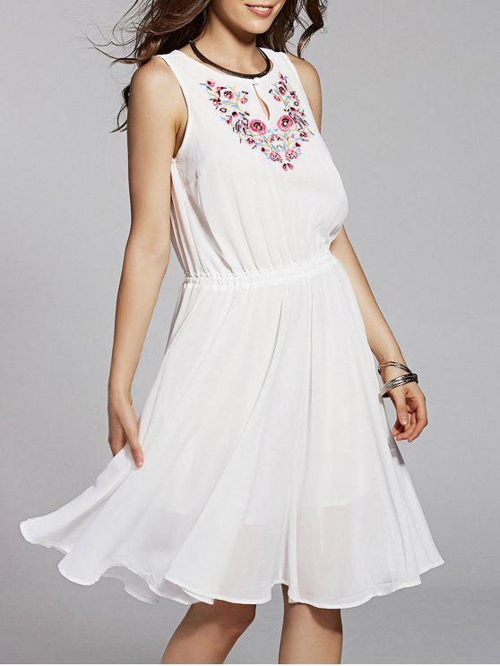 trendy Round Neck Embroidery Sleeveless Dress - WHITE M