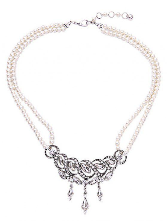 outfit Spiral Faux Pearl Crystal Necklace - WHITE