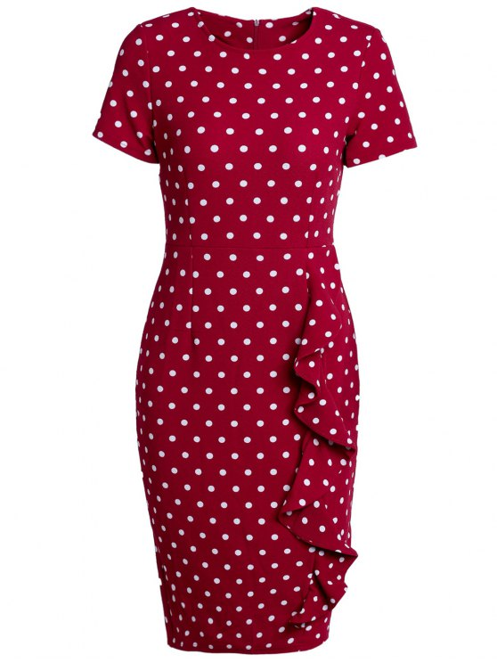 latest Polka Dot Back Slit Work Dress - WINE RED L