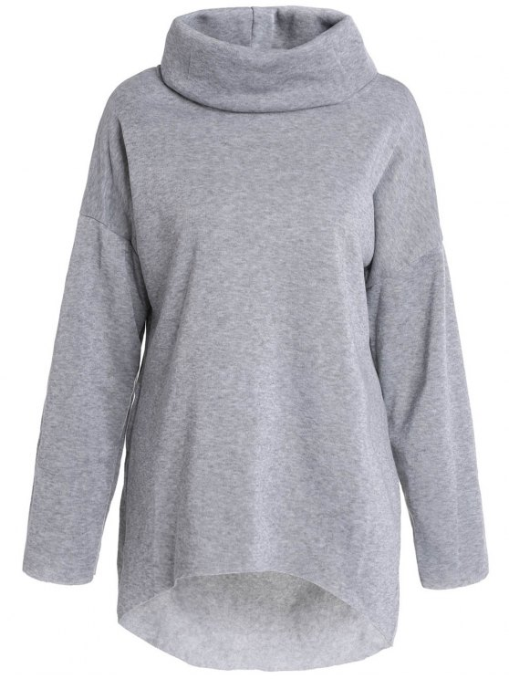 lady Cowl Neck High Low Sweatshirt - GRAY S