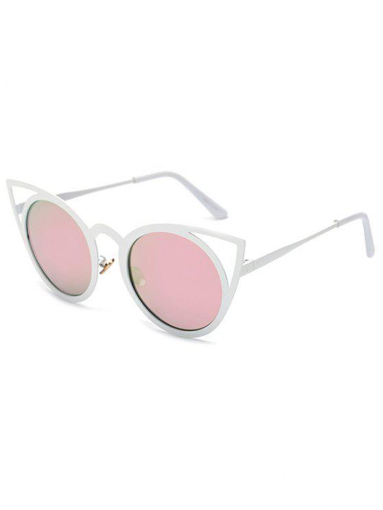 Recortable blanca del ojo de gato gafas de sol de espejo - Rosa