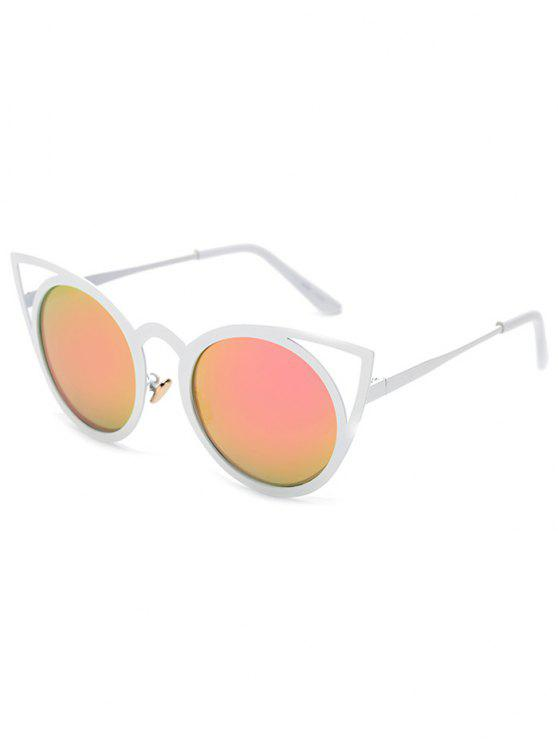 online Cut Out White Cat Eye Mirrored Sunglasses - PINK CHAMPAGNE