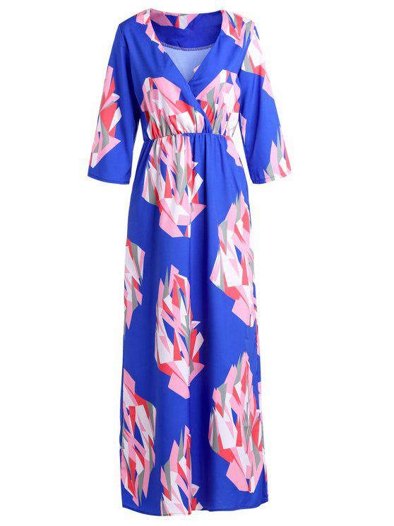 trendy V-Neck Geometric Print Maxi Dress - BLUE XL
