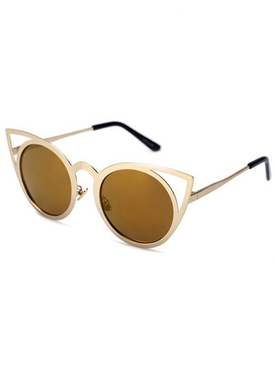 outfit Cut Out Golden Cat Eye Sunglasses - TYRANT GOLD