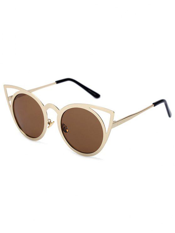outfits Cut Out Golden Cat Eye Sunglasses - TEA-COLORED