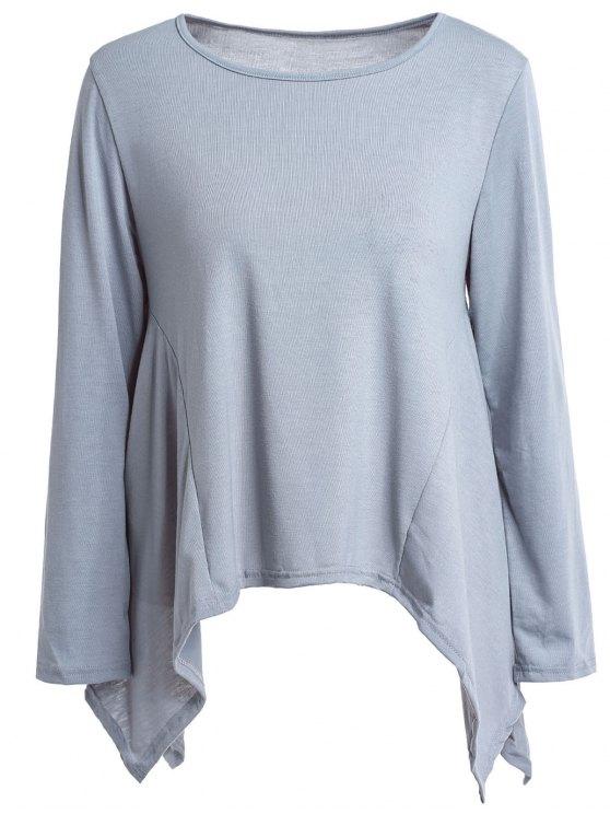 new High Low Hem Solid Color T-Shirt - GRAY XL