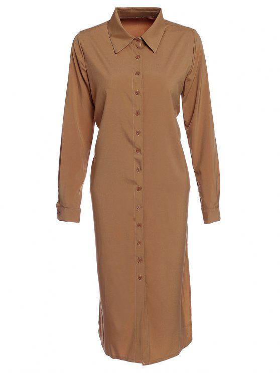 fashion Shirt Collar Single-Breasted Chiffon Dress - DUN S
