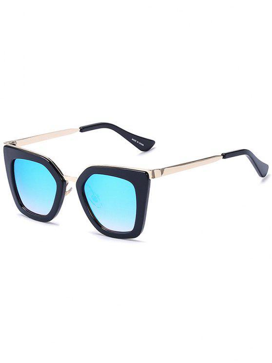 sale Matte Black Mirrored Irregular Sunglasses - BLACK