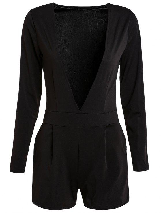 outfits Long Sleeve Plunging Neck Black Playsuit - BLACK XL