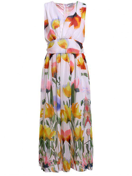 Floral V Neck mangas Maxi Dress - Branco M