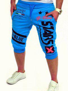 Letra Y Estrellas Impresas En Color Sólido De Encaje De Pantalones Cortos Para Los Hombres - Lago Azul 2xl