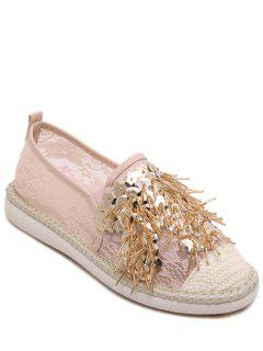 Lace Sequins Weaving Flat Shoes - Pink 38