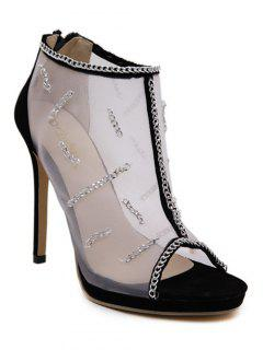 Gauze Chains Stiletto Heel Peep Toe Shoes - Black 38