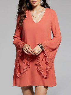 Flare Sleeve V-Neck Chiffon Dress - Sweet Orange S