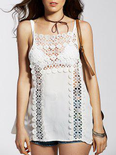 Bretelles Spaghetti Cut Out Tank Top Spliced ​​Lace - Blanc L