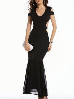 Cold Shoulder Plunging Neck Formal Maxi Dress - Black Xl