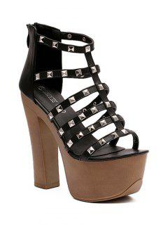 Rivet Platform Chunky Heel Sandals - Black 38