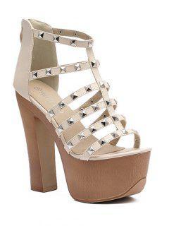 Rivet Platform Chunky Heel Sandals - Apricot 38