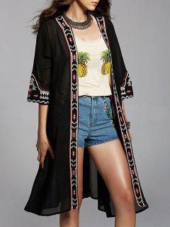 Embroidered Long Line Blouse - Black M