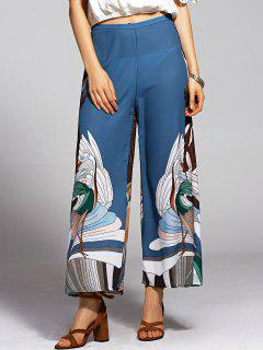Print High Waisted Wide Leg Pants - Blue And Black M