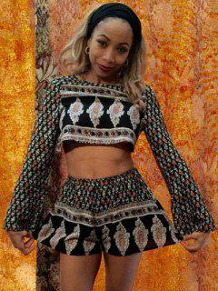 Long Sleeve Printed Crop Top + Shorts Twinset - S