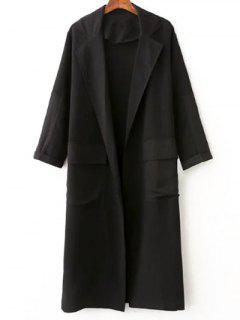 Side Slit Lapel Collar Solid Color Long Coat - Black S