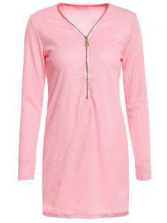 Zipper Plunging Neck Long Sleeve Bodycon Dress - Rose PÂle S